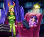 2017 animal_humanoid animated barefoot book cape chair changeling clothed clothing crossed_arms digital_media_(artwork) duo equine equine_humanoid feathered_wings feathers feet female friendship_is_magic fully_clothed glowing hair horn humanoid inside lamp long_hair magic male mammal multicolored_hair my_little_pony pointy_ears purple_eyes purple_feathers racoon-kun sitting telekinesis thorax_(mlp) twilight_sparkle_(mlp) wings