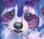 abstract ambiguous_gender banrai headshot_portrait mammal paint painting portrait procyonid purple_theme raccoon solo traditional_media_(artwork) watercolor_(artwork) whiskers
