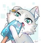 ambiguous_gender blue_eyes cat dkmysr ear_piercing eating feline food fur grey_fur mammal open_mouth pakku piercing popsicle re:zero simple_background tongue tongue_out white_fur