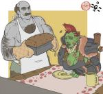breasts cake clothed clothing dannyg duo facial_hair female food humanoid knife male muscular mustache not_furry orc smile standing