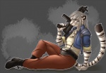 anthro clothed clothing feline fur gun hair jewelry juxzebra looking_at_viewer male mammal necklace ranged_weapon rifle sitting smile solo weaponRating: SafeScore: 2User: Cat-in-FlightDate: March 31, 2017