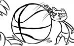 16:10 2016 anthro ball basketball basketball_(ball) black_and_white claws clothed clothing cute_fangs disney duo fan_character hugh_muskroura inkyfrog male mammal monochrome mustelid percy_vison polecat simple_background size_difference skunk solo_focus white_background zootopia