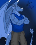 2012 anthro azurin biceps big_muscles blue_body claws clothed clothing crossed_arms dragon fangs fully_clothed green_eyes grin horn male membranous_wings muscular muscular_male pants pecs pose reptile saixyuniz-xynz scales scalie shirt smile smirk solo standing tank_top teeth western_dragon wingsRating: SafeScore: 12User: KakuyaDate: January 21, 2013