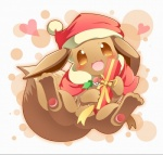 2016 <3 ambiguous_gender blush canine christmas clothing cute eevee feral gift happy hat holidays mammal nintendo open_mouth pokémon pokémon_(species) solo video_games ねる