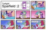 2017 absurd_res awake cake comic docwario equine female feral food friendship_is_magic garfield garfield_(series) hi_res horn mammal my_little_pony parody princess_celestia_(mlp) simple_background sleeping twilight_sparkle_(mlp) winged_unicorn wingsRating: SafeScore: 8User: 2DUKDate: April 23, 2017