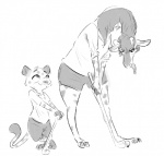 anthro clothing desmond_(zootopia_fan_character) disney duo fan_character feline female giraffe golf_club golfing husband_and_wife jaguar male mammal molly_(zootopia_fan_character) nobby_(artist) shirt shorts simple_background size_difference smile tongue tongue_out white_background zootopia