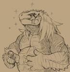 belly capcom daftpatriot fanged_wyvern great_jagras looking_at_viewer monster_hunter musclegut overweight pecs pointing portrait sparkle tongue video_gamesRating: SafeScore: 7User: e17enDate: January 22, 2018