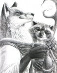 5_fingers anthro arakun beverage canine clothed clothing detailed duo ear_piercing food fox greyscale hibbary holding_cup looking_aside looking_at_viewer male mammal monochrome piercing raccoon rev simple_background smile stick whiskers white_background