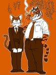 anthro big_eyes briefcase cat cigarette clothed clothing duo feline footwear fully_clothed fur japanese_text male mammal maririn necktie pants shoes simple_background smoke smoking suit sweat teeth text tiger tobacco whiskersRating: SafeScore: 6User: terminal11Date: January 15, 2014