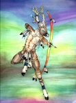 abs abstract_background antlers armband armpits arrow barefoot blue_eyes bow_(weapon) brown_fur cervine clothed clothing cloven_hooves deer ear_piercing feathers firemaster13 fur hi_res hooves horn legband male mammal muscular muscular_male navel nipples piercing ranged_weapon reindeer solo tribal weaponRating: SafeScore: 2User: TauxieraDate: June 30, 2010