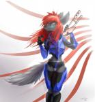 anthro black_nose blue_eyes canine digital_media_(artwork) female gun hair holding_object holding_weapon mammal ramiras ranged_weapon red_hair solo weapon wolf