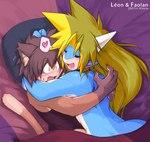 <3 anthro blush cat cute dragon duo eyes_closed feline horn hug kitora male male/male mammal scalie sleeping sweat sweatdropRating: SafeScore: 4User: The Dog In Your GuitarDate: May 09, 2007