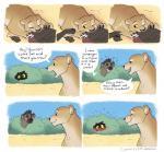 ambiguous_gender blush brown_fur comic feline female feral fur hyena laphund lion mammal red_eyes spots spotted_fur textRating: SafeScore: 16User: Eagle0600Date: April 18, 2018