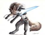 anthro canine final_fantasy final_fantasy_viii jewelry lyanti male mammal melee_weapon necklace scar solo squall_leonhart square_enix sword video_games weapon