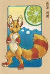 adam_wan anthro canine chinese_text citra collaboration food fruit keovi male mammal pinup pose solo text traditional_media_(artwork) translation_request