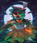2016 2_fingers ambiguous_gender anthro arrow avian beak biped bird black_beak brown_feathers cloud dark_theme decidueye digital_media_(artwork) digital_painting_(artwork) eye_markings feathered_wings feathers fingerless_(marking) front_view frown full_moon glowing glowing_eyes green_feathers half-length_portrait holding_object lighting looking_away loose_feather markings mask_(marking) moon moonlight multicolored_feathers night nintendo nude orange_eyes orange_markings pokémon pokémon_(species) portrait pseudo_clothing signature sky solo spots spotted_feathers starsoulart video_games vines watermark white_feathers white_spots winged_arms wings