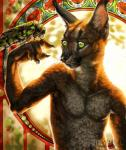 2016 5_fingers anthro arthropod brown_fur caracal detailed_background digital_media_(artwork) duo feline feral fur green_eyes heyriel insect male mammal moth snaked whiskers