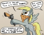 2013 5:4 blonde_hair brown_eyes cutie_mark derp_eyes derpy_hooves_(mlp) dialogue docwario doing_it_wrong english_text equine fail feathered_wings feathers female feral friendship_is_magic grey_feathers gun hair handgun hi_res holding_object holding_weapon mammal mask my_little_pony pegasus ranged_weapon revolver simple_background solo standing text weapon white_background wings