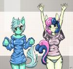 anthro anthrofied blush bonbon_(mlp) bottomless breasts clothed clothing cute duo earth_pony equine female friendship_is_magic hi_res horn horse looking_at_viewer lyra_heartstrings_(mlp) mammal midriff mirapony my_little_pony nipples panties pony shirt standing underwear unicornRating: SafeScore: 12User: slyroonDate: September 21, 2017