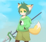 anthro black_nose blush brown_fur canine clothed clothing concon-collector day dipstick_ears dipstick_tail fox fully_clothed fur gosounokitsune_sonhaku green_eyes green_hair hair hand_in_pocket holding_object holding_weapon hoodie inner_ear_fluff kyuuri looking_aside looking_at_viewer male mammal melee_weapon multicolored_tail orange_fur outside polearm portrait short_hair shorts sky smile solo spear staff standing sweater three-quarter_portrait weapon white_fur yin_yang youngRating: SafeScore: 4User: JackalfagDate: April 11, 2016