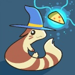 2012 :3 aliasing ambiguous_gender cute food furret hat hidden_mudkip looking_back low_res magic magic_user mammal mustelid nintendo pizza pokémon pokémon_(species) solo video_games wizard_hat