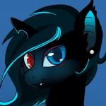 bat_pony blue_eyes blush equine fan_character female hair headshot_portrait heterochromia horn hybrid looking_at_viewer mammal my_little_pony portrait red_eyes rhk solo unicorn