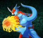 2017 anthro belt big_tail blue_scales blue_skin butt claws digimon feet fire flamedramon half-top long_tail male mask rear_view red_eyes reptile scales scalie sharp_claws solo straps オロー