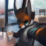 2012 anthro beverage building cafe camera_view canine car chair clothing coffee coffee_mug coffee_shop cup detailed_background digital_media_(artwork) food fox fur green_eyes half-length_portrait high-angle_view inside looking_at_viewer male mammal orange_fur portrait selfie sitting slice_of_life smile solo table thanshuhai vehicle