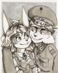 2017 adler anthro cat clothed clothing cute drawing dress duo feline female fur german hair hug male mammal markers military monochrome officer portrait renate smile traditional_media_(artwork) uniform wunderknodel young
