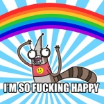abstract_background anthro bottomless brown_fur cartoon_network clothed clothing derp_eyes english_text fur happy image_macro jasesea low_res male mammal open_mouth profanity raccoon rainbow rainbow_arch reaction_image regular_show rigby_(regular_show) shirt smiley_face solo striped_tail stripes teeth text tongue