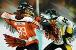 armor avian bird canine clothing detailed_background digital_media_(artwork) feathered_wings feathers fight fist hawk helmet hockey jersey mammal nhl philadelphia_flyers pittsburgh_penguins puppychowder sport tongue tongue_out wings wolf