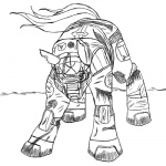 45silverwolfdemon ambiguous_gender armor black_and_white crossover equine halo_(series) horse mammal monochrome my_little_pony parody pony simple_background solo spartan veratin video_games white_background