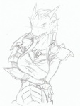 anthro armor blush breasts crossed_arms dragon dragonborn dungeons_&_dragons female monochrome scalie simple_background sketch solo tongue unknown_artist white_background