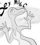 2016 anthro english_text eyelashes female greyscale jazz_hands kl0ndike lizard monochrome nintendo pokémon pokémon_(species) reaction_image reptile salazzle scalie smile solo text video_games
