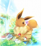 2013 arthropod black_nose book brown_eyes brown_fur butterfly canine cloud eevee ev133 feral fur insect letter male mammal nintendo outside pokéball pokémon solo tree video_games water wood