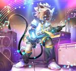 2016 5_fingers amplifier anthro blue_eyes cat checkered_floor claws clothed clothing collar cryton_future_media detailed feline footwear fully_clothed fur grey_fur grey_hair hair holding_musical_instrument inside kagamine_len keytar looking_at_viewer male mammal multicolored_hair music musical_instrument musical_note necktie open_mouth playing_music shoes short_hair shorts siamese smile solo speaker star vocaloid vocaloid2 whiskers yamaha ラテ 鏡音レン