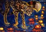 2018 black_nose cheetah digital_media_(artwork) feline feral flashw fur mammal orange_eyes paws solo spots spotted_fur standing water whiskers