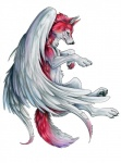 ambiguous_gender canine feathered_wings feathers feral fur mammal pearleden red_fur simple_background solo traditional_media_(artwork) white_background white_feathers wingsRating: SafeScore: 1User: DogenzakaDate: August 08, 2009