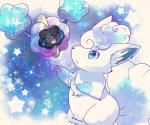 alolan_vulpix blue_background blue_eyes cosmog eyes_closed legendary_pokémon nintendo open_mouth pokémon pokémon_(species) regional_variant simple_background smile star unknown_artist video_games