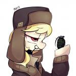 2015 blonde_hair clothing equine explosives female grenade hair hat horse jacket lol_comments mammal march_gustysnows_(mlp) marenlicious my_little_pony necktie pony purple_eyes solo ushanka weapon