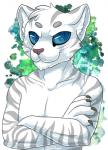 2014 anthro blue_eyes claws cometthemicroraptor feline fur hair looking_at_viewer male mammal nude smile smirk solo stripes tau_maxim tiger white_fur white_hair white_tiger