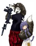 animal_humanoid assault_rifle back-to-back bayonet cat_humanoid clothed clothing duo feline female gate_-_jieitai_ka_no_chi_nite_kaku_tatakaeri gun humanoid knife male male/female mammal official_art ranged_weapon rifle sao_satoru tail_hug weapon wolf_(gate) wolf_humanoidRating: SafeScore: 3User: kikimaru024Date: November 14, 2017