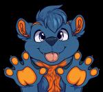 2016 4_fingers alpha_channel anthro biped blue_fur blue_hair blue_nose bust_portrait claws cute digital_media_(artwork) front_view fur hair looking_at_viewer male mammal multicolored_fur mustelid muzz orange_claws orange_fur otter pink_tongue portrait purple_eyes short_hair signature simple_background smile solo tongue tongue_out transparent_background two_tone_fur webbed_hands whiskers zaffre_(zaffretehfloof)