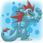 abstract_background ambiguous_gender anthro blue_body brown_eyes fangs fenneklns feraligatr flexing grin looking_at_viewer looking_back muscular nintendo open_mouth pokémon pokémon_(species) rear_view reptile scalie simple_background smile solo standing teeth video_gamesRating: SafeScore: 4User: ScakkDate: June 02, 2014