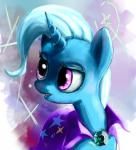 2013 abstract_background biting_lip blue_hair bust_portrait cape clothed clothing collaboration cute equine eyelashes female feral friendship_is_magic hair hi_res holivi horn looking_away mammal melon-drop my_little_pony portrait purple_eyes solo star teeth trixie_(mlp) unicornRating: SafeScore: 1User: GlimGlamDate: June 17, 2018