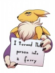 2017 3_fingers ambiguous_gender anthro armwear black_nose black_sclera blue_eyes bridal_gauntlets canine claws clothing digimon dipstick_ears dogshaming english_text facial_markings freckles_(artist) humor mammal markings meme neck_tuft renamon sign simple_background solo text tuft white_backgroundRating: SafeScore: 72User: ultragamer89Date: August 17, 2017