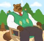 2017 animal_crossing anthro chair clothed clothing male mammal nintendo overweight overweight_male rine sitting sleeping solo tanuki tom_nook_(animal_crossing) video_games