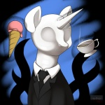2013 abstract_background alternate_species ambiguous_gender back_tentacles beverage business_suit clothed clothing cup dessert digital_media_(artwork) empty_eyes equine eyeless feral food fur glowing hi_res horn ice_cream kloudmutt levitation magic mammal my_little_pony necktie ponification sharp_teeth signature simple_background slenderman solo sparkles steam suit tea teeth tentacles unicorn white_fur