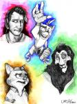 2017 4_fingers anthro bandicoot canine clothed clothing crash_bandicoot crash_bandicoot_(series) disney feline fingerless_gloves fox gideon_grey gloves group headphones hi_res human insane lion looking_away mammal markiplier marsupial open_mouth open_smile rainbow_background raised_eyebrow reaching_towards_viewer scar_(the_lion_king) shirt shorts signature simple_background smile sneakers the_lion_king topless ursatomic video_games white_background zootopia