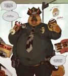 2017 5_fingers anthro badge belly belt canine clothing dog doughnut english_text food german_shepherd hat male mammal necktie obese obese_male overweight overweight_male pants police shirt speech_bubble text tongue tongue_out vetrowolf